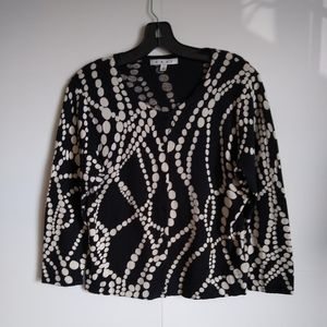 Womens CAbi String of Pearls black white cardigan